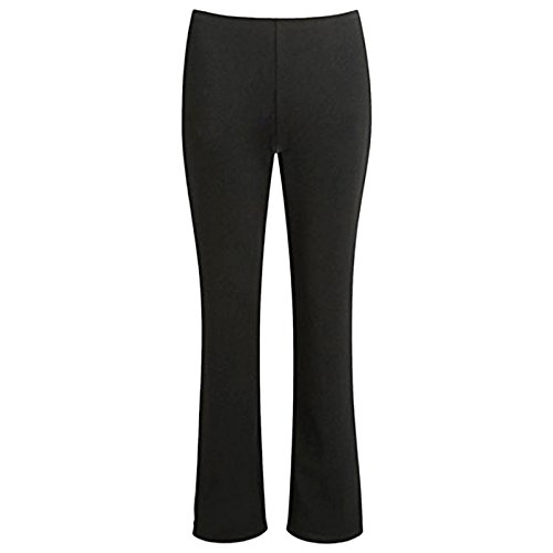 MyShoeStore Ladies Stretch Bootleg Trousers Ribbed Womens Boot Cut Elasticated Waist Pants Work Wear Pull On Boot Leg Bottoms Plus Big Sizes 8-26 Black from MyShoeStore