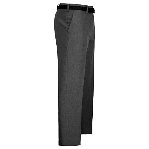 MyShoeStore Mens Formal Trousers Casual Business Office Smart Dress Pants Straight Leg Flat Front Everpress Pockets Plus Free Belt Big King Size 30-50 Charcoal Grey from MyShoeStore