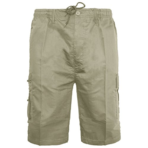 Mens Plain Shorts Cargo Combat Casual Summer Beach Poly Cotton 6 Pockets Work Short Elasticated Waist Lightweight Pants Plus Big Sizes S-5XL(Beige Shorts,M) from MyShoeStore