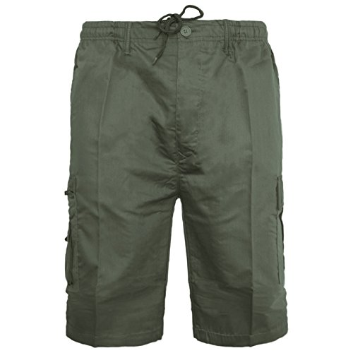 Mens Plain Shorts Cargo Combat Casual Summer Beach Poly Cotton 6 Pockets Work Short Elasticated Waist Lightweight Pants Plus Big Sizes S-5XL(Olive Shorts,M) from MyShoeStore