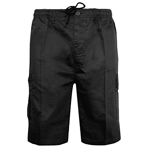 Mens Plain Shorts Cargo Combat Casual Summer Beach Poly Cotton 6 Pockets Work Short Elasticated Waist Lightweight Pants Plus Big Sizes S-5XL(Black Shorts,S) from MyShoeStore