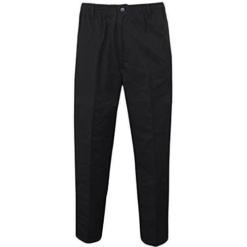 MyShoeStore Mens Rugby Trousers Full Elasticated/Casual Formal Smart Look with Pocket Draw Cord Pants Sizes 30-48 (Black,32/29) from MyShoeStore