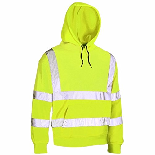 Hi Vis Viz Hooded Sweatshirt High Visibility Reflective Tape Band Work Fleece Safety Sweat Shirts Jacket Workwear Hoodie Work Wear Hoody Jumper Top (Pull Over Hoody Yellow, XL) from MyShoeStore