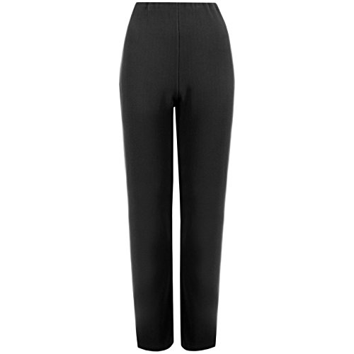 MyShoeStore Ladies Womens Straight Leg Trousers Finely Soft Ribbed Stretch Pull On Pants Casual Full Elasticated Waist Bottoms (Black 14/29) from MyShoeStore