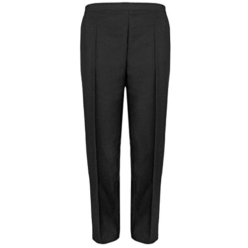 MyShoeStore Pack of 2 Ladies Half Elasticated Trouser Womens Stretch Waist Casual Office Work Formal Pull On Trousers Straight Leg Pants Bottoms with Pockets (Black, 16/29) from MyShoeStore