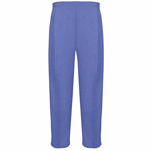 Ladies Half Elasticated Trouser Womens Stretch Waist Casual Office Work Formal Trousers Pants with Pockets Plus Big Size(Denim,UK 14/29 Inch Inside Leg) from MyShoeStore