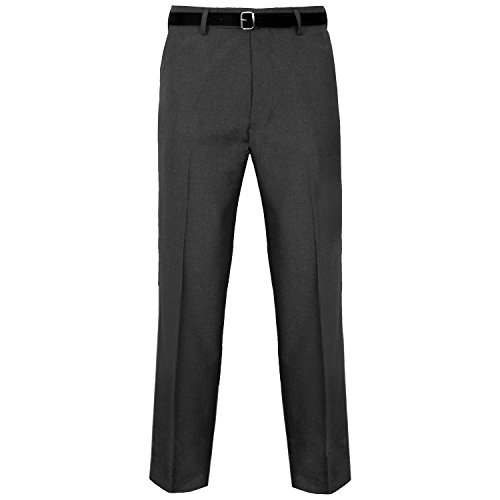 MyShoeStore Mens Formal Trousers Casual Business Office Work Home Belted Smart Dress Pants Straight Leg Flat Front Everpress Pockets Plus Free Belt(Charcoal Grey, 36/27) from MyShoeStore