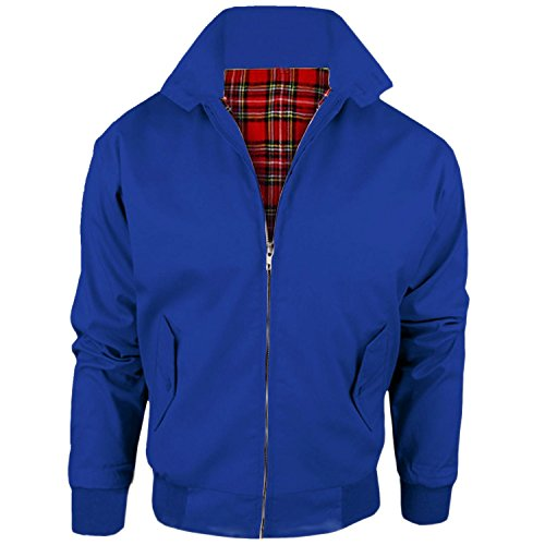 MyShoeStore Vintage Harrington Jacket Adults Unisex Mens Ladies Womens Harrington Classic Retro Scooter 1970'S Bomber MOD Skin Tartan Lining Coat Top Size S-5XL from MyShoeStore