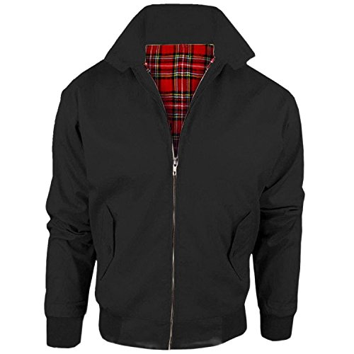 MyShoeStore Harrington Jacket Adults Unisex Mens Ladies Womens Vintage Classic Retro Scooter 1970'S Bomber MOD Skin Tartan Lining Coat Top, Black, L from MyShoeStore
