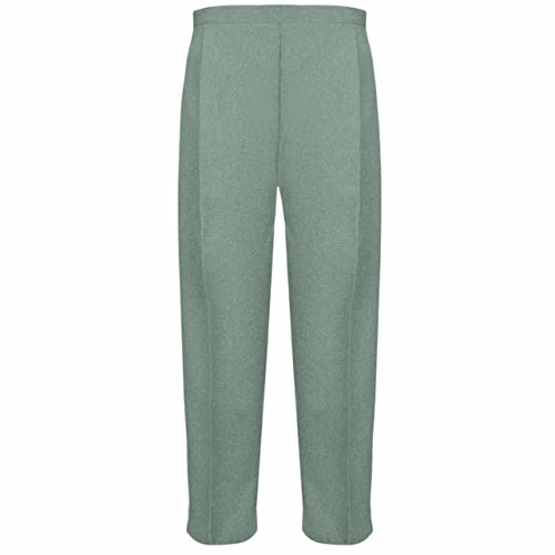 Ladies Half Elasticated Trouser Womens Stretch Waist Casual Office Work Formal Trousers Pants with Pockets Plus Big Size(Sage Green,UK 18/27 Inch Inside Leg) from MyShoeStore