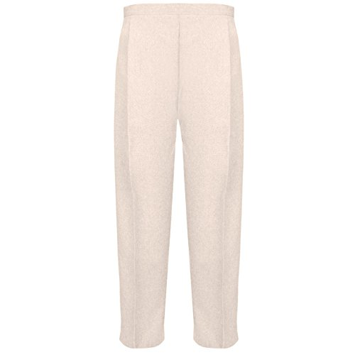 Ladies Half Elasticated Trouser Womens Stretch Waist Casual Office Work Formal Trousers Pants with Pockets Plus Big Size(Beige,UK 20/29 Inch Inside Leg) from MyShoeStore