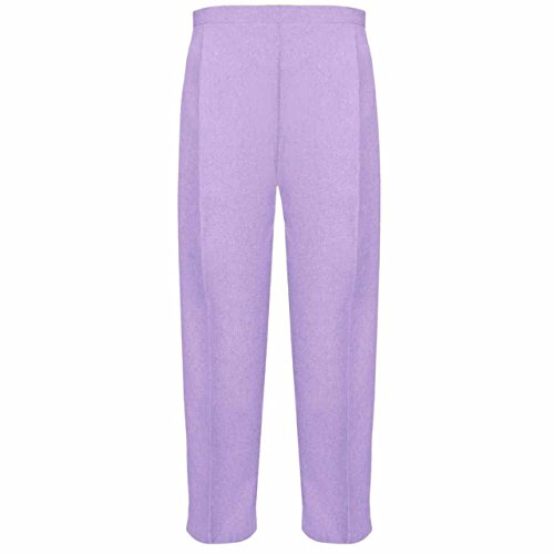 MyShoeStore Pack of 2 Ladies Half Elasticated Trouser Womens Stretch Waist Casual Office Work Formal Pull On Trousers Straight Leg Pants Bottoms with Pockets (Lilac, 18/25) from MyShoeStore