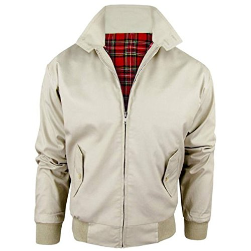 MyShoeStore Unisex Mens Ladies Womens Vintage Harrington Jacket Adults Bomber Coat Classic Retro Scooter 1970's Mod Skin Tartan Lining Top Size XS-5XL Beige from MyShoeStore