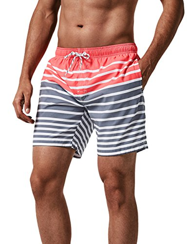 0e38514813 MaaMgic Mens Quick Dry Stretch Boardshorts Stripe Swim Trunks Water Shorts  (Small, Red). found at Amazon Marketplace