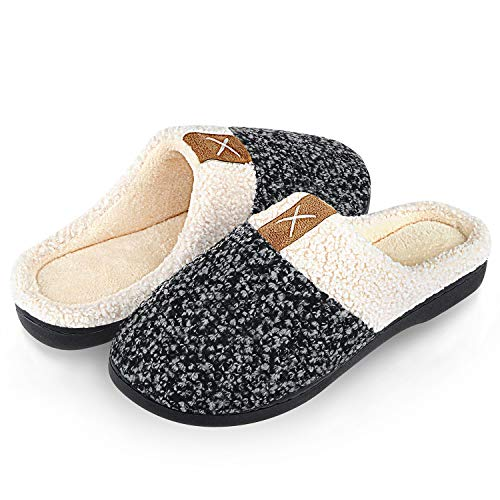Womens Mens Winter Warm House Slippers Memory Foam Comfort Plush Fleece Lined Anti-Slip Home Shoes for Ladies Indoor/Outdoor(Black White,40/41)(Size: 6/7 UK Men/ 7/8 UK Women) from Mabove
