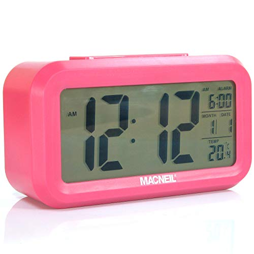 NEW Macneil MCN6020 LCD Alarm Clock Features: Time (12 & 24 Hour) Date, Year, Alarm, Snooze, Temperature (Indoors) Large Clear Easy to Read Display and Handy Smart Day/Night Light Sensor Function that Adjusts the Display Brightness Automatically, Battery Powered - Three Colours to Choose From (Pink) from MacNeil