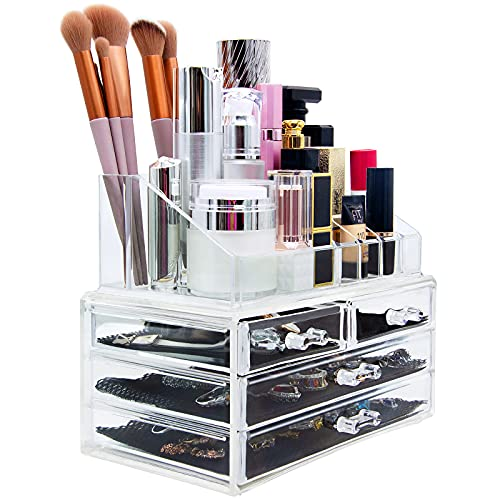 Cosmetic Make Up Clear Acrylic Organiser 20 Sections with Drawers from Macallen
