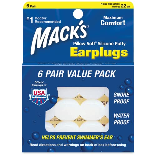 Mack's Pillow Soft Silicone Putty Ear Plugs - Pack of 6 Pairs from Mack's