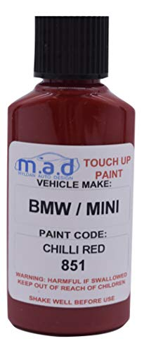 TOUCH UP PAINT FOR CHILLI RED 851 KIT BMW MINI JOHN COOPER BOTTLE BRUSH REPAIR PAINT CHIP (PAINT + PRIMER + LACQUER) from Mad