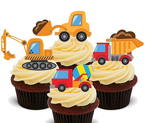 Diggers and Trucks, Kids' Construction Vehicles Mix, Edible Cupcake Toppers - Stand-up Wafer Cake Decorations (Pack of 12) from Made4You