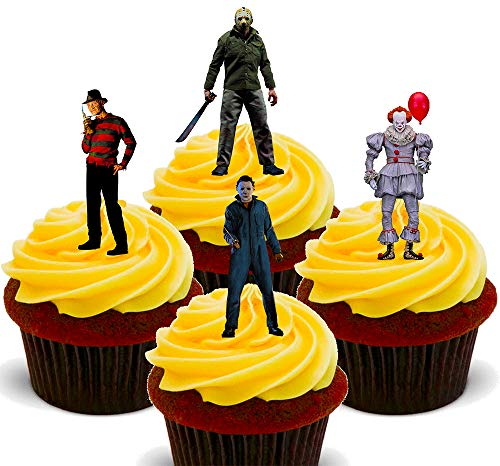 Made4You Halloween Horror Film Icons - Edible Cupcake Toppers - Stand-up Wafer Cake Decorations (12) from Made4You