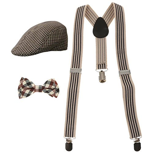 MagiDeal Fashion Kids Boys Stretchble Y-back Suspender Bowtie +Beret Cap Flat Hat Set from MagiDeal