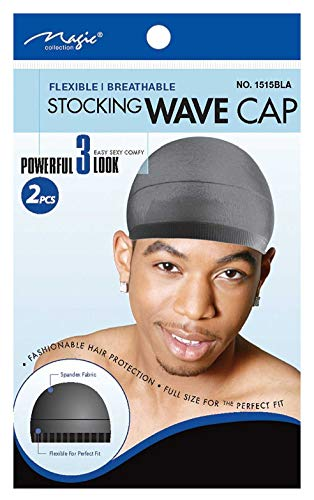 Magic Stocking Wave Cap Pack 2 Caps Black Hair Du Rag from Magic Collection