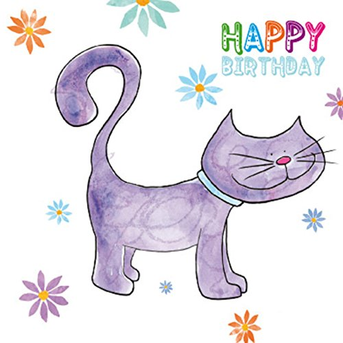 Magnet and Steel 5773 Purple Cat Easel Greetings Card from Magnet and Steel