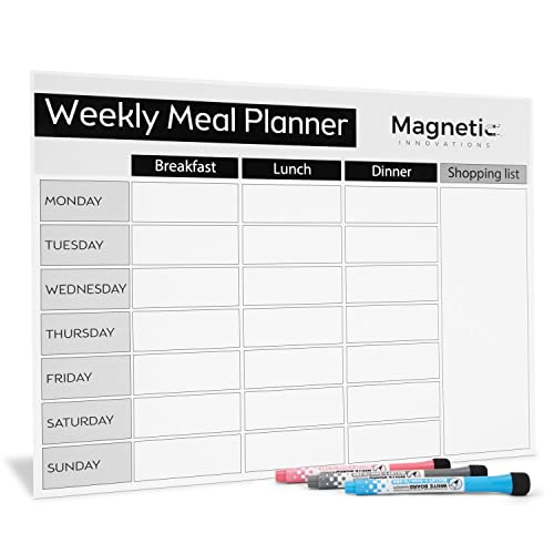 Magnetic Innovations Large A3 Premium Fridge Meal Planner, Ideal as a Weekly Family Diet Planner | Food Shopping List | Memo Board | Includes 3 Markers from Magnetic Innovations