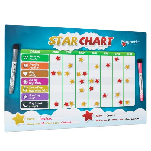 Magnetic Innovations Premium Star Chart for Children, Encourage Learning, Reward Good Behaviour, Large A3 Magnetic Dry Wipe Surface, 2 Dry Wipe Markers from Magnetic Innovations