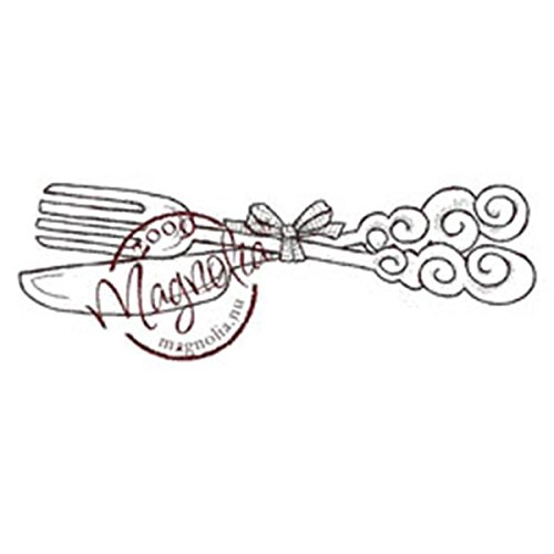 Magnolia Rubber A Little Yummy for Your Tummy Cling Stamp 5.5-inch x 2.5-inch Package-Knife and fork from Magnolia
