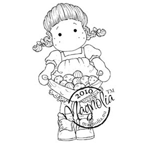 Magnolia Rubber Hoppy Easter Cling Stamp 3.75-inch x 5.5-inch Package-Tilda W/Eggs In Her Apron from Magnolia