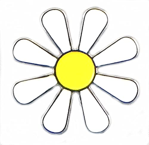 (32mm) Large Metal Enamel Pin Badge White Daisy Hippy Flower Power Love Luv Peace Freedom from Mainly Metal