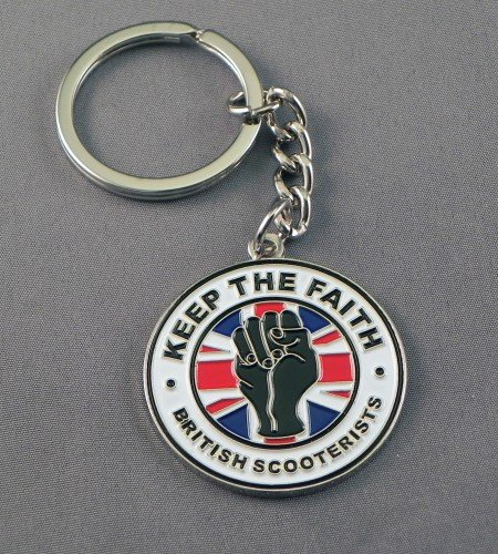 Metal Enamel Keyring British Flag Lambretta Vespa Union Jack Northern Soul Fist - Keep the Faith from Mainly Metal