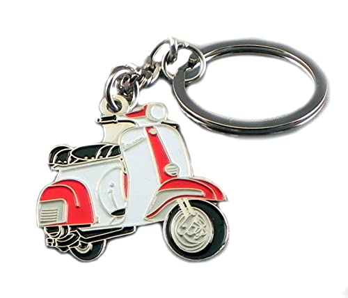 Metal Enamel Keyring Red & White Vespa Scooter from Mainly Metal