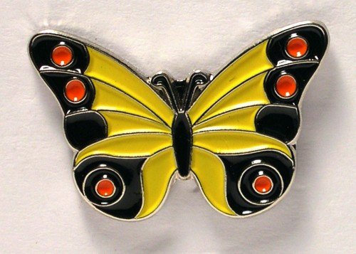 Metal Enamel Pin Badge Brooch Butterfly Yellow (& Black/Red) 25mm from Mainly Metal