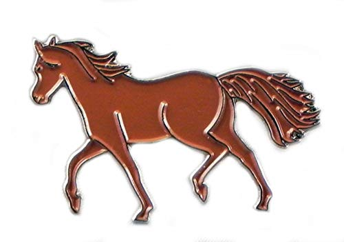 Metal Enamel Pin Badge Chestnut Brown Pony Horse Riding Equestrian from Mainly Metal