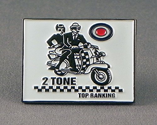 Metal Enamel Pin Badge Ska Two Tone Top Ranking MOD Scooter Riders from Mainly Metal