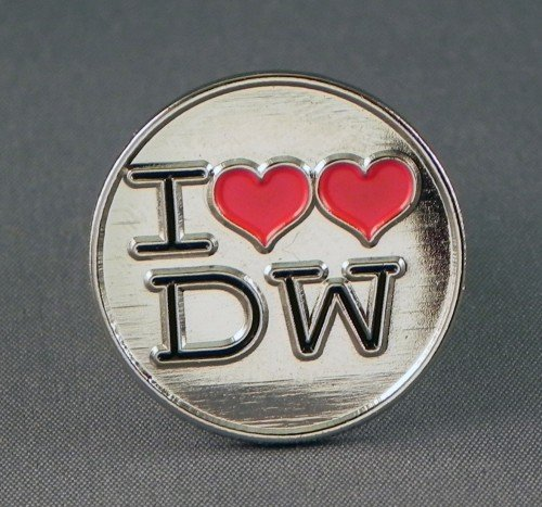 Metal Enamel Pin Badge Doctor Dr. Who - 'I Love DW' from Mainly Metal