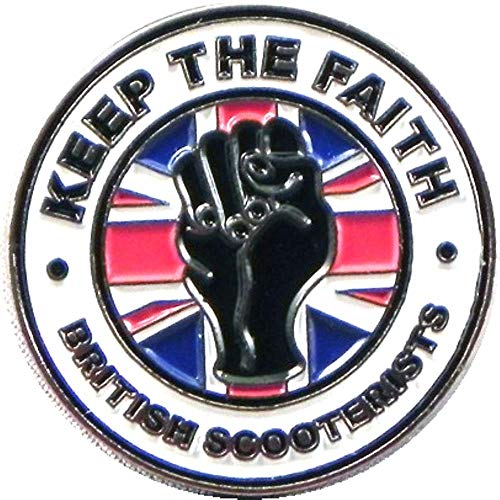 (25mm) Metal Enamel Pin Badge Northern Soul Faith British Scooter Mod Vespa Lambretta Union Jack from Mainly Metal