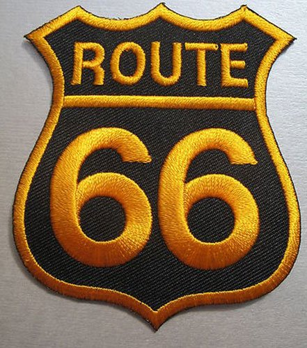 Route 66 (Black & Gold) Sew-on Iron-on Embroidered Patch Biker Bike Badge from Mainly Metal