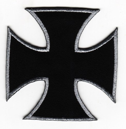 Sew-on Iron-on Embroidered Patch Biker Cross (Malta cross) (Iron Cross) Badge from Mainly Metal