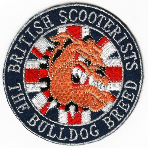 Sew-on Iron-on Embroidered Patch British Bulldog Scooterist Union Jack Flag Badge from Mainly Metal