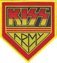 Sew-on Iron-on Embroidered Patch Kiss Heavy Metal Rock Band Music Badge Yellow/Red from Mainly Metal