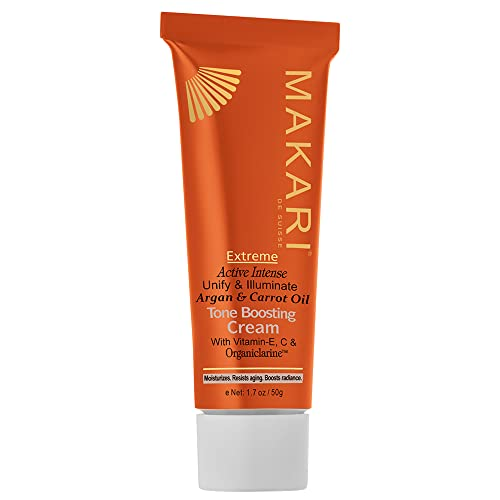 Makari Extreme Carrot & Argan Oil Toning FACE CREAM 1.7oz - Lightening, Brightening & Tightening Moisturizer with OrganiclarineTM - Anti-Aging Whitening Treatment for Dark Spots, Acne & Freckles from MAKARI