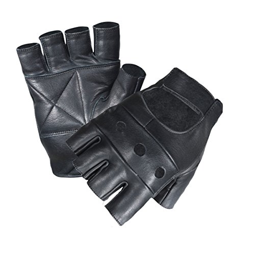 UNISEX MEN LADIES FINGERLESS REAL LEATHER CYCLING GYM DRIVING WHEEL CHAIR GLOVES (XXL, Black) from Make or Break