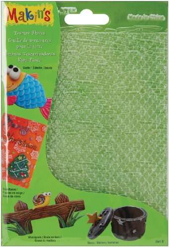 Makin's USA Plastic Clay Texture Sheets 7-Inch x 5.5-Inch-Set D (Scale,Snowflake,WoodgrainandStars) from Makin's USA