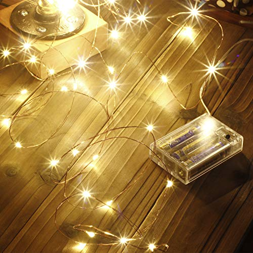 Led String Lights 100 LEDs Decorative Fairy Battery Powered String Lights, Copper Wire Light for Bedroom,Wedding(33ft/10m Warm White) from Makion