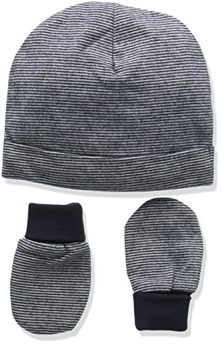 Mamas & Papas Baby Boys' Stripe Hat & Mitts Hat, Blue, 1 (Size: 3-6 Months) from Mamas & Papas