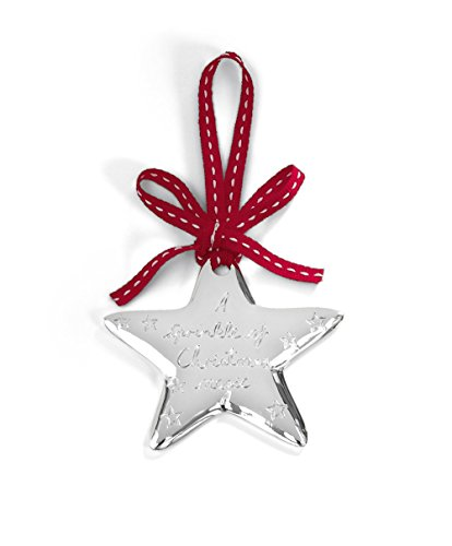 Mamas & Papas Hanging Silver Plated Christmas Star - A Sprinkle of Christmas Magic Engraved Design from Mamas & Papas